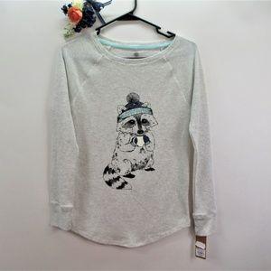 Pajama Top Raccoon Drinking Coffee NWT Night Shirt